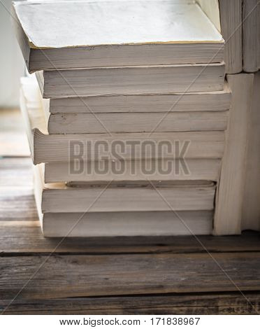 Book On Wooden Background With Space For Text, Concept Of Knowledge