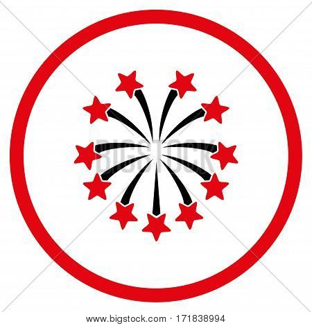 Spherical Fireworks rounded icon. Vector illustration style is flat iconic bicolor symbol inside circle intensive red and black colors white background.