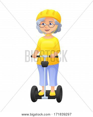 vector illustration of an old active lady with glasses and protect helm, who is dressed in tunic and breeches. She is riding on self-balancing scooter