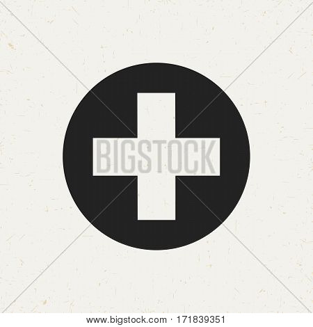 Flat monochrome medical cross icon in vintage style. Isolated medical cross icon for use in variety of projects. Black and white vector medical cross icon for web sites and apps.