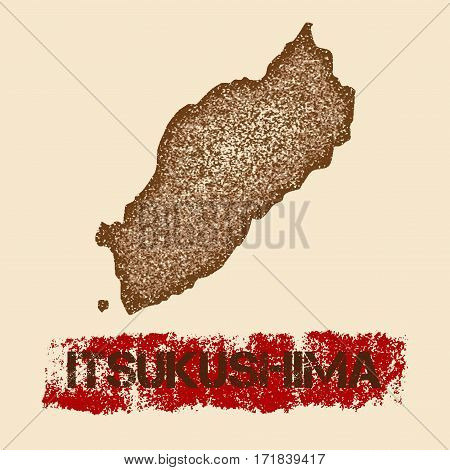 Itsukushima Distressed Map. Grunge Patriotic Poster With Textured Island Ink Stamp And Roller Paint