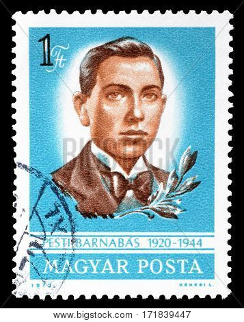 HUNGARY - CIRCA 1973 : Cancelled postage stamp printed by Hungary, that shows Pesti Barnabas.