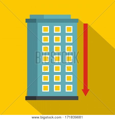Building and red down arrow icon. Flat illustration of building and red down arrow vector icon for web isolated on yellow background