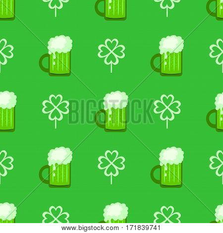 Seamless pattern with beer and clover. Happy St. Patrick's Day.