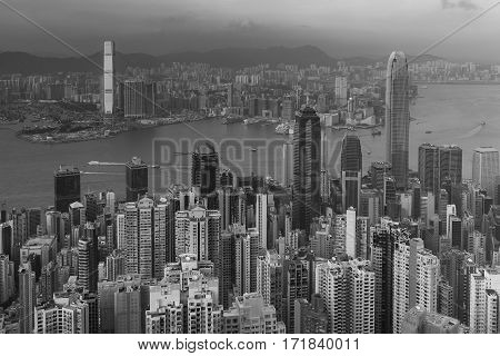 Black and White Hong Kong city central business downtown aeril view over Victoria Bay