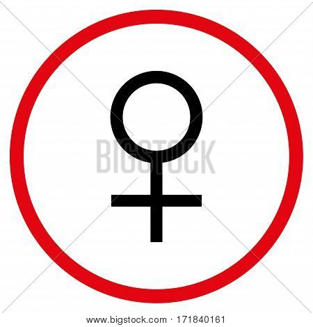 Venus Female Symbol rounded icon. Vector illustration style is flat iconic bicolor symbol inside circle intensive red and black colors white background.