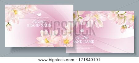 Vector health care horizontal banners with white lotus on pink. Design for natural cosmetics, women hygiene products, soap and napkins. Can be used as yoga center and ayurveda products background