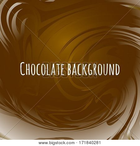 Chocolate abstract background. Brown wavy melted choco. Sweet vector illustration.