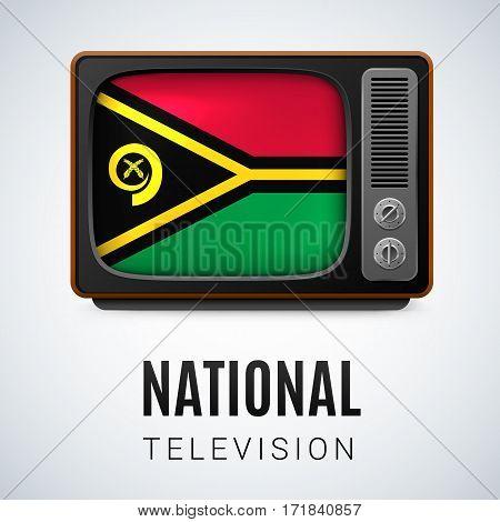 Vintage TV and Flag of Vanuatu as Symbol National Television. Tele Receiver with flag design