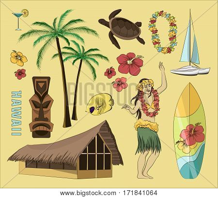 Vector Vintage set of Hawaiian icons and symbols. Vector illustration, EPS 10