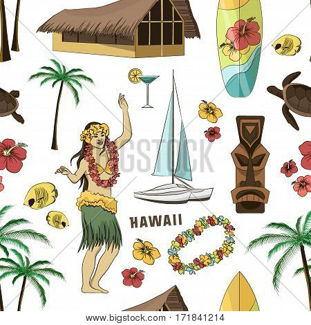 Vector Vintage set pattern of Hawaiian icons and symbols. Vector illustration, EPS 10