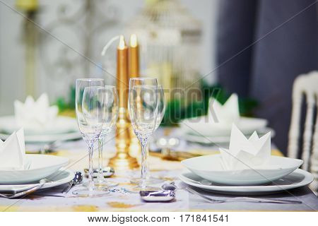 Table Set For Event Party Or Wedding Reception