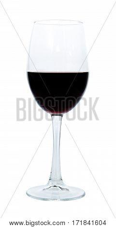 Red wine glass isolated on white background, cut