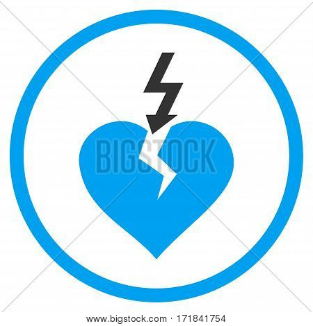 Break Heart rounded icon. Vector illustration style is flat iconic bicolor symbol inside circle blue and gray colors white background.