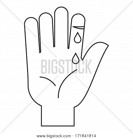 Bleeding human thumb icon. Outline illustration of bleeding human thumb vector icon for web