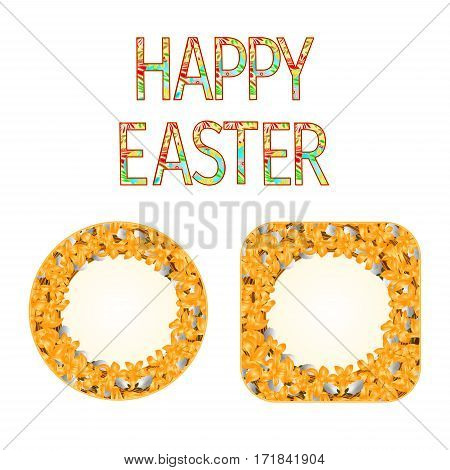 Buttons Happy easter with willow and forsythia vintage vector illustration