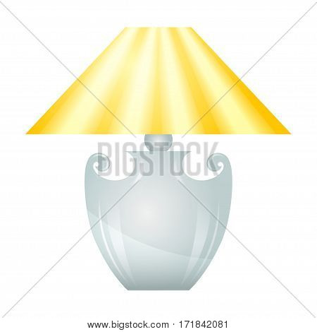 Lamp with yellow lampshade isolated on white background.