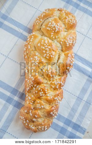 Home made sweet german easter bread on a table