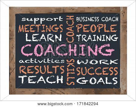 Antique Black board Coaching Workshop Aid Vector Illustration