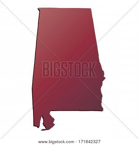3D Alabama (USA) Autumn Gradient map with shadow