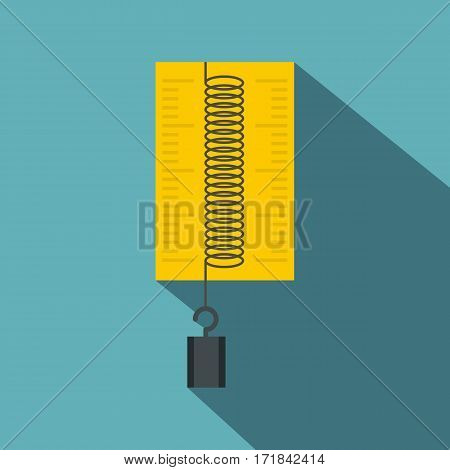 Dynamometer with weights icon. Flat illustration of dynamometer with weights vector icon for web isolated on baby blue background