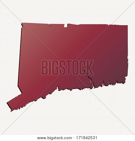 Autumn Gradient Connecticut (USA) State map with shadow