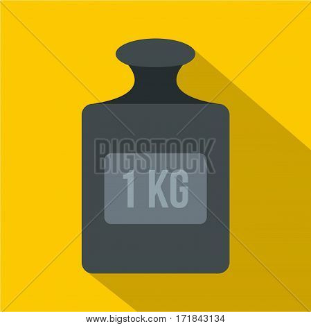 Weight 1 kg icon. Flat illustration of weight 1 kg vector icon for web isolated on yellow background