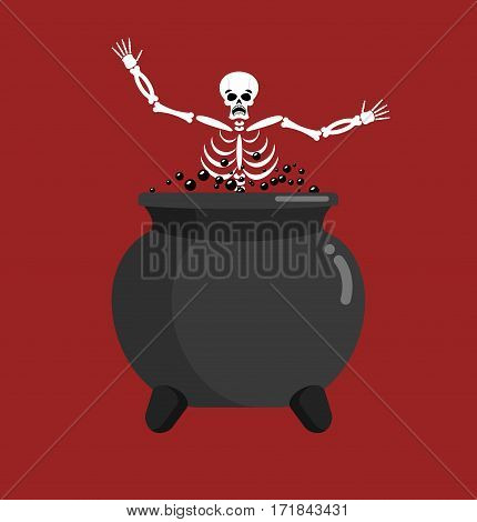 Sinner In Boiler. Skeleton In Pot. Cook For Sinners In Resin. Religion Illustration. Hell Symbol. He