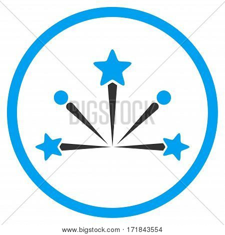 Fireworks Bang rounded icon. Vector illustration style is flat iconic bicolor symbol inside circle blue and gray colors white background.
