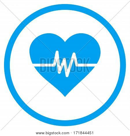 Heart Pulse rounded icon. Vector illustration style is flat iconic bicolor symbol inside circle blue and gray colors white background.