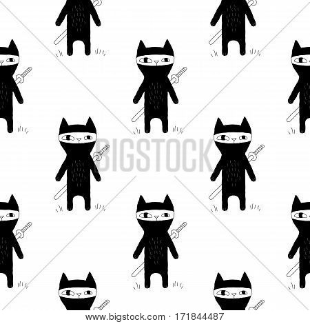 Sweet animal pattern with hand drawn ninja cats. Cute vector black and white animal pattern. Seamless monochrome animal pattern for fabric, wallpapers, wrapping paper, cards and web backgrounds.