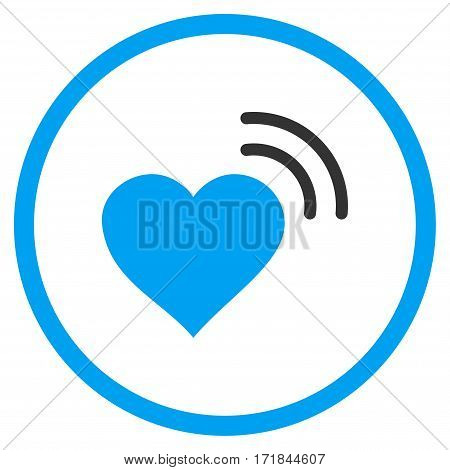Heart Radio Signal rounded icon. Vector illustration style is flat iconic bicolor symbol inside circle blue and gray colors white background.