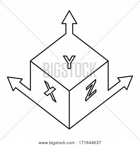 Height and width icon. Outline illustration of height and width vector icon for web