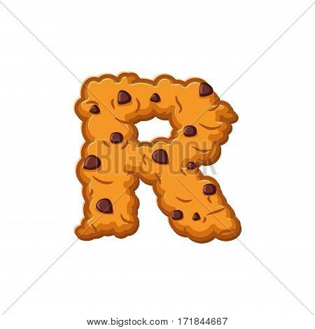 R Letter Cookies. Cookie Font. Oatmeal Biscuit Alphabet Symbol. Food Sign Abc