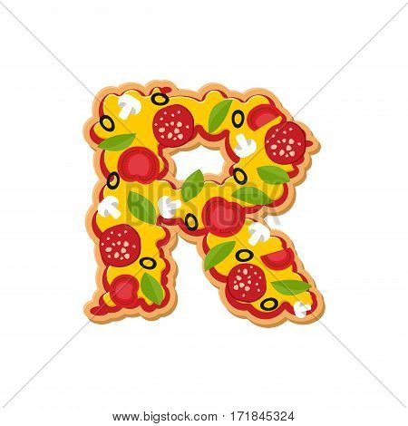 Letter R Pizza Font. Italian Meal Alphabet. Lettring Fast Food