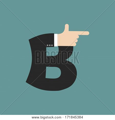 B Letter Businessman Hand Font. It Shows Finger Print. Arm Symbol Alphabet. Sign Of Abc