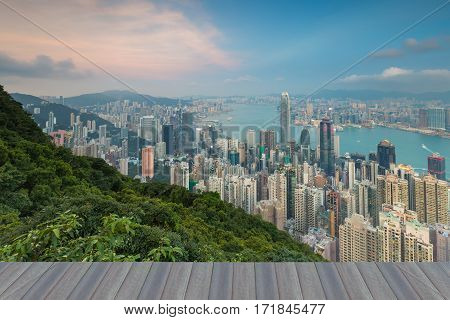 Opening wooden floor Hong Kong central business downtown aerial view from The Peak point of view