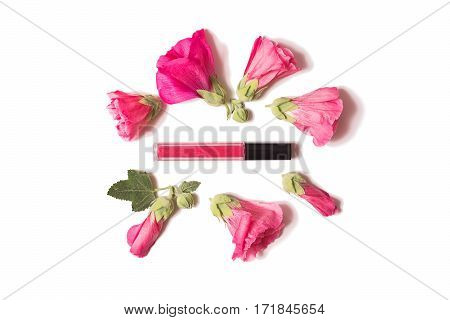 Red flowers lip gloss are isolated on a white background flat lay top view. Natural cosmetics personal care.;