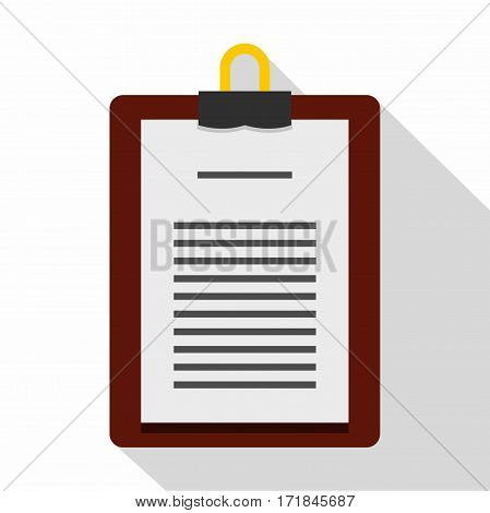 Medical order clipboard icon. Flat illustration of medical order clipboard vector icon for web isolated on white background