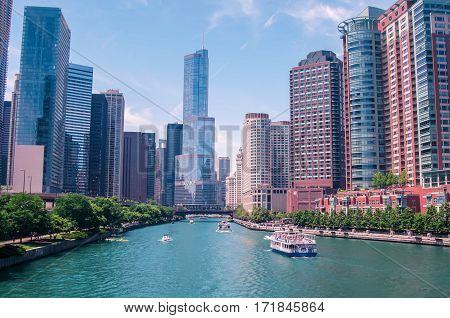 downtown Chicago in the summer sunny day