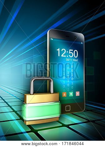 Smartphone protected by a glowing padlock. 3D illustration.