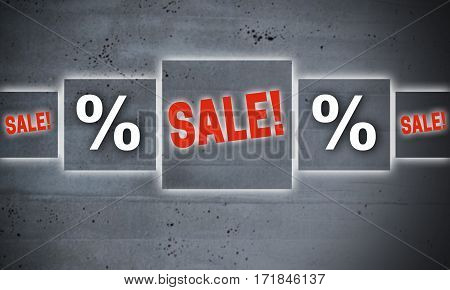 Sale per cent touchscreen concept concrete background picture