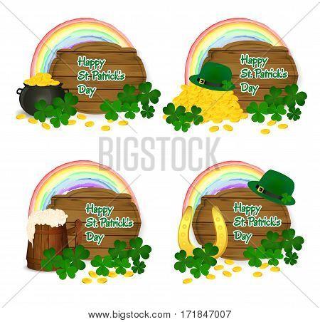 Saint Patrick's symbols vector - pot og gold, rainbow, beer mug, horseshoe, green hat and clover.