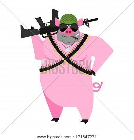Pig Soldiers.  Swine War. Wild Boar With Gun. Aper Warrior. Farm Animal With Protective Helmet