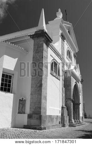 Black and white image of the Church of Santa Maria do Castelo Tavira Algarve Portugal