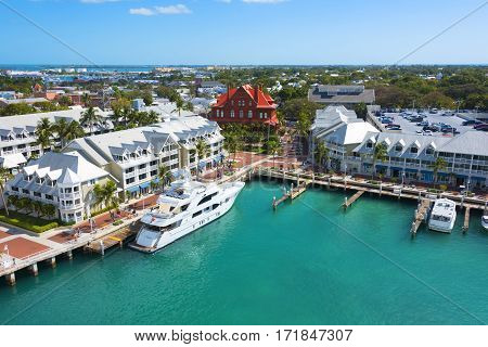 Key West Florida - February 12th 2017: Blue green Key West harbor in tourist area Key West Florida - February 12th 2017