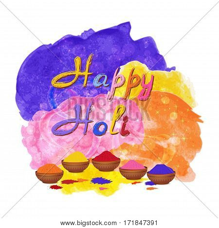 Indian Holi Festival Background. Happy Holi celebration vector with watercolor splashes Vector illustration