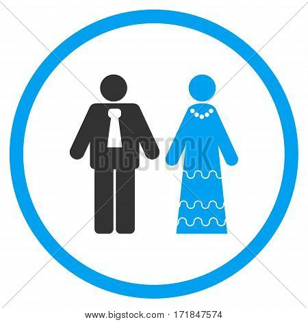 Newlyweds rounded icon. Vector illustration style is flat iconic bicolor symbol inside circle blue and gray colors white background.