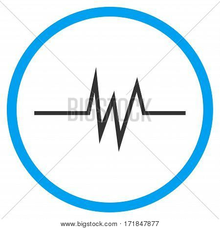 Pulse Signal rounded icon. Vector illustration style is flat iconic bicolor symbol inside circle blue and gray colors white background.