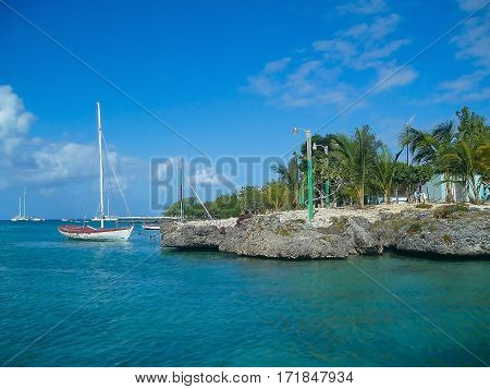 beautiful white sailboats and boats in the azure turquoise sea off the coast the Caribbean Saona Dominican Republic